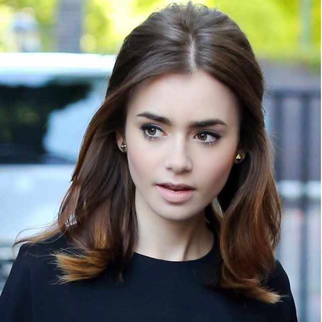 Half up half down Lily Collins