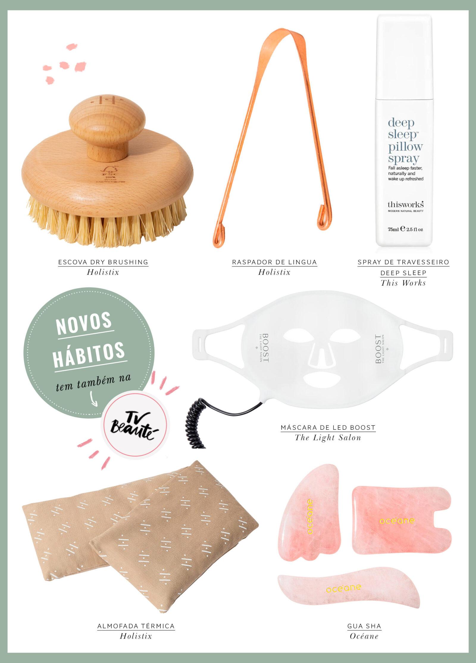 produtos de bem estar: almofada terminca, gua sha, spray de travesseiro, raspador de lingua e escova dry bryshing